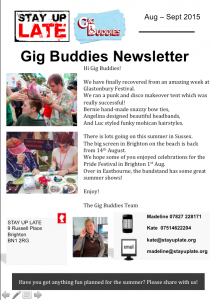 Gig Buddies newsletter Aug-Sep 15