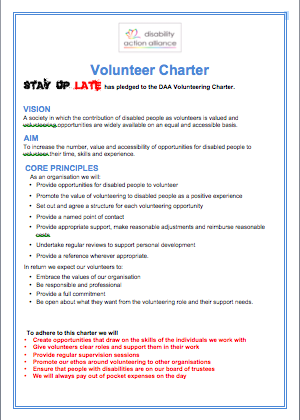 Volunteer Charter from The Disability Action Alliance