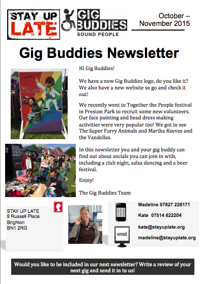 Gig Buddies newsletter - Oct/Nov '15